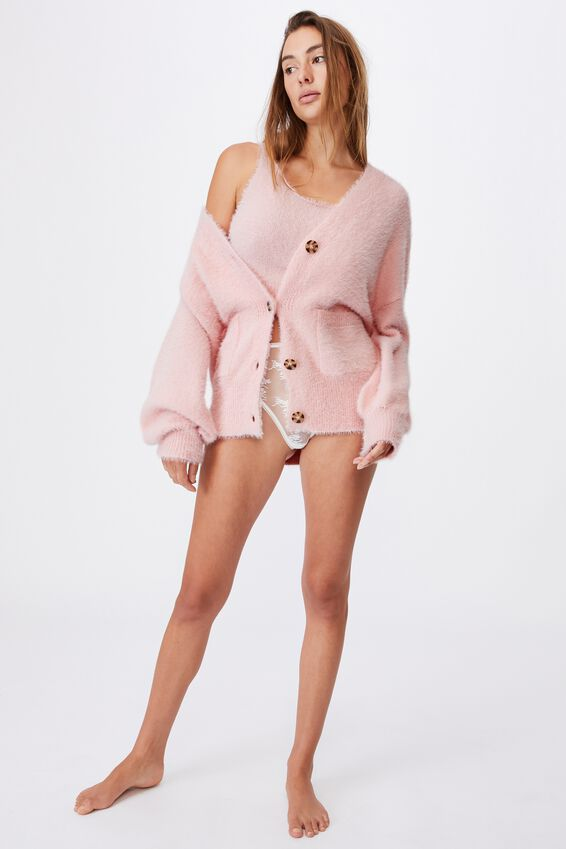 Fluffy Cardigan, FAIRY TALE PINK
