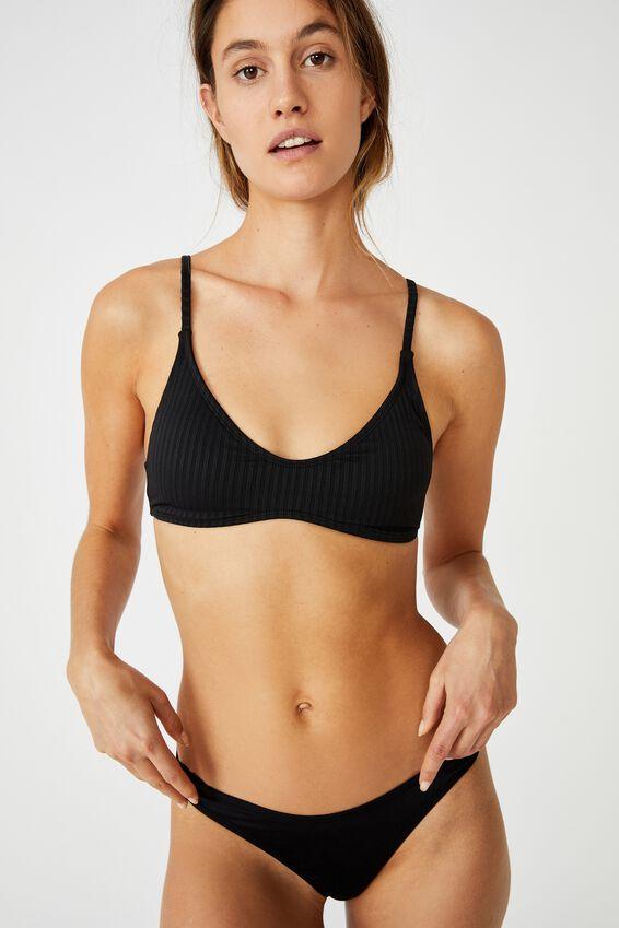 U Crop Bralette Bikini Top, BLACK RIB 21