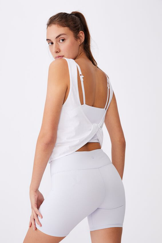 On The Go Twist Back Tank, WHITE