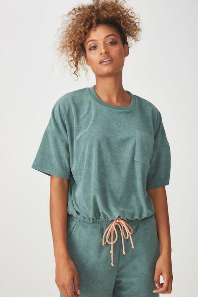 Terry Tie Tshirt, FERN GREEN
