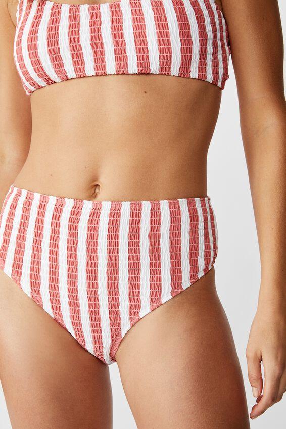Highwaisted Banded Cheeky Bikini Bottom, ROSE SMOKED STRIPE SHIRRED