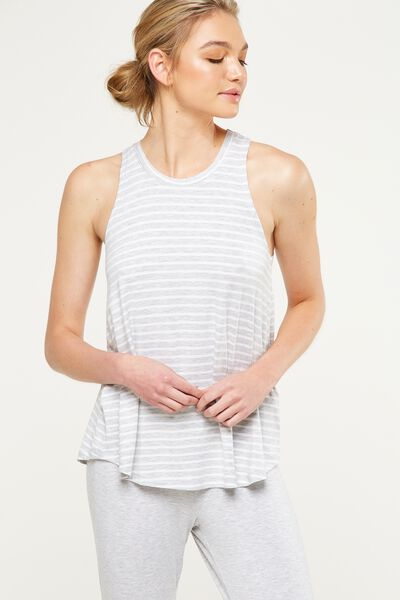 Sleep Recovery Tank Top, GREY MARLE STRIPE