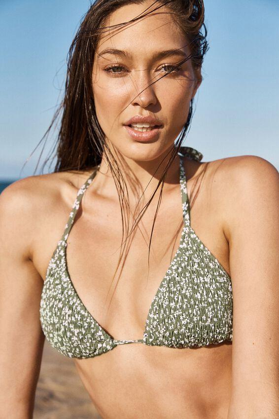 Classic Slider Triangle Bikini Top, COOL AVOCADO DITSY SHIRRED