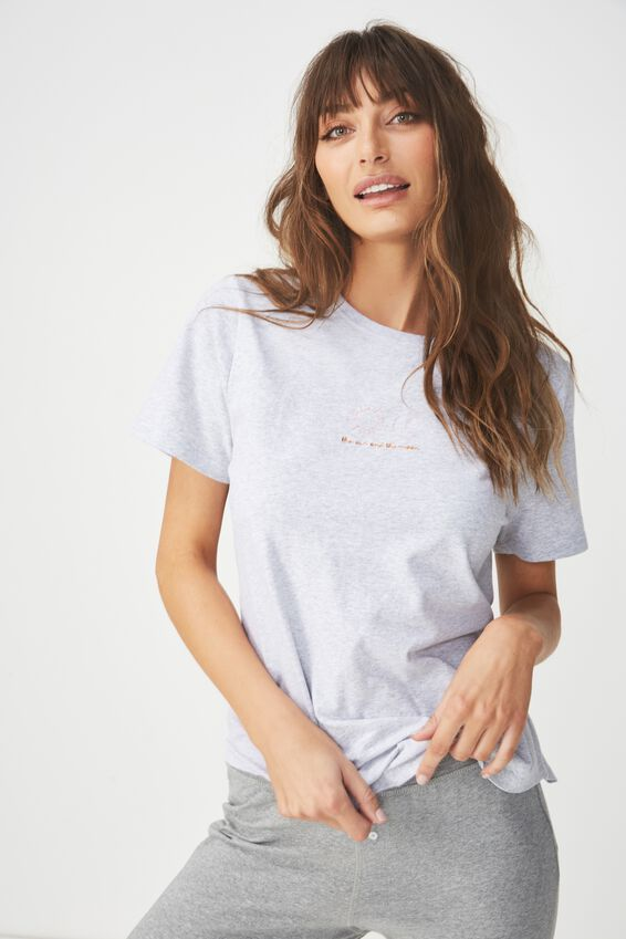 Jersey Scoop T Shirt, GREY MARLE/SUN & MOON