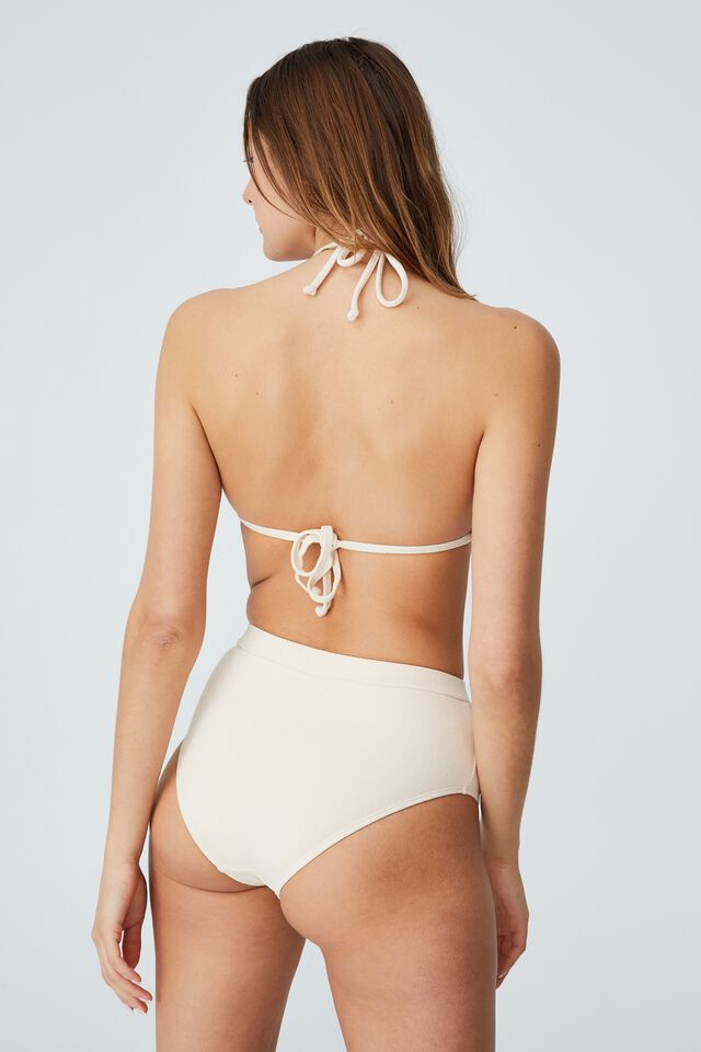 Gathered Backless Halter Bikini Top, SANDCASTLE TERRY