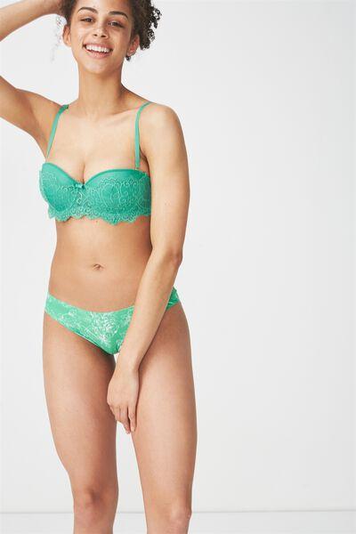 Party Pants Seamless Bikini Brief, PALM GREEN LINEWORK FLORAL