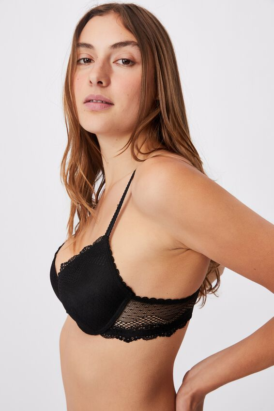 Stevie Lace Contour Bra, BLACK