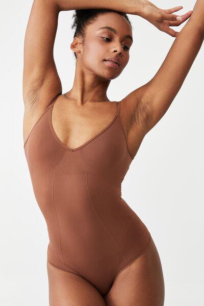 Go Figure Plunge Bodysuit, CHOCOLATE MOUSSE