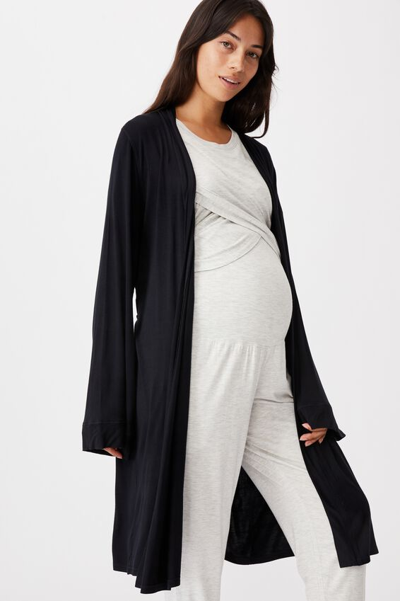 Sleep Recovery Maternity Gown, BLACK