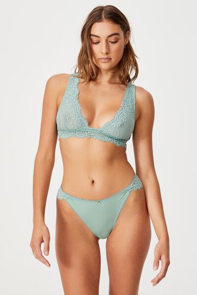 Ainsley Lace Unlined Plunge Bralette, SMOKED GREEN