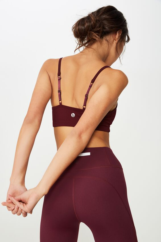 Workout Yoga Crop, RED CURRENT TEXTURE