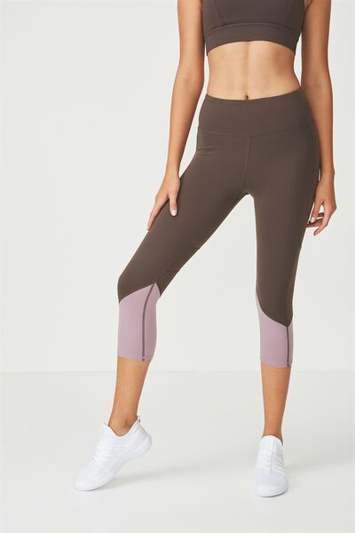 Tempo Mesh Panelled Crop Tight, SMOKEY BRONZE/THISTLE MAUVE