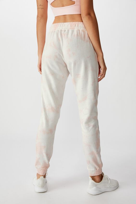 Washed Gym Trackpant, SOFT CAMEO PINK TIE DYE