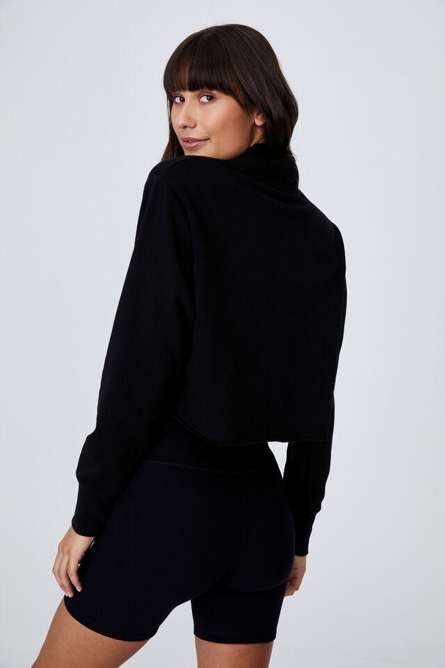 Lifestyle Mock Neck Fleece Top, BLACK