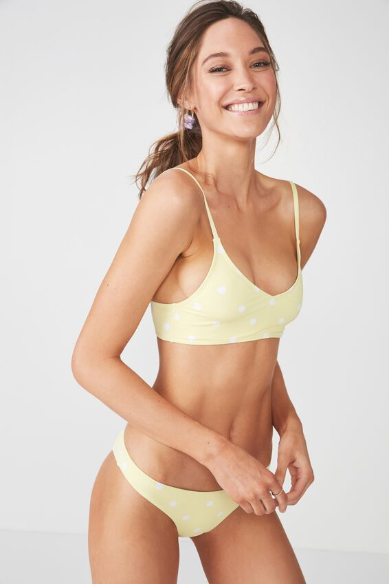 V Neck Bralette Bikini Top, LEMON COIN SPOT