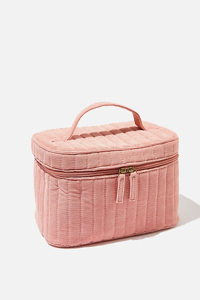 Large Structured Cosmetic Case, DUSTY ROSE CORD