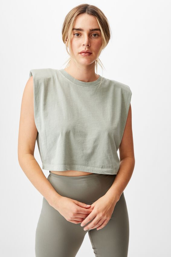 Padded Shoulder Crop Tank, GREEN HAZE WASH