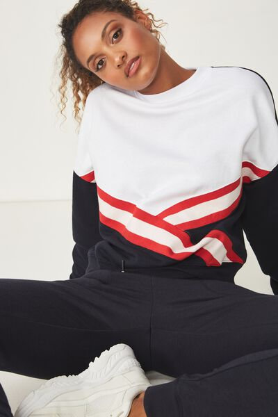 Brushed Rib Crew Fleece, NAVY/WHITE/DESERT RED/PINK SHERBET