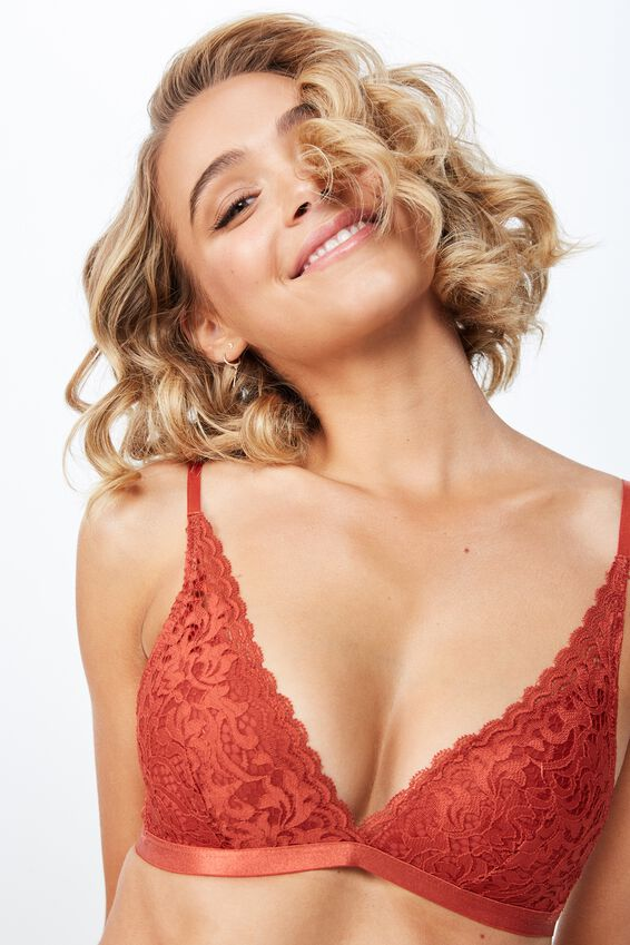 Audrey Wirefree Bralette Bra, TANDOORI
