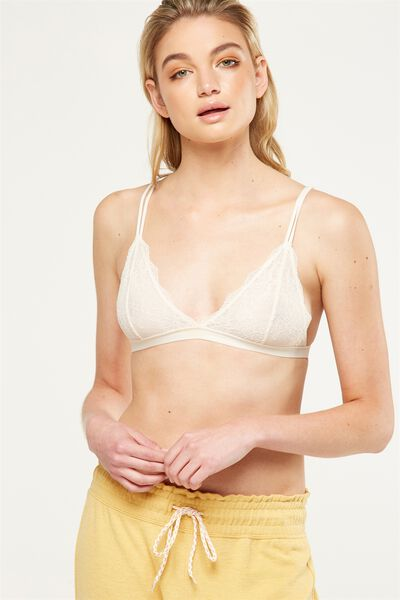 The Body V Lace Bralette, WINTER CREAM