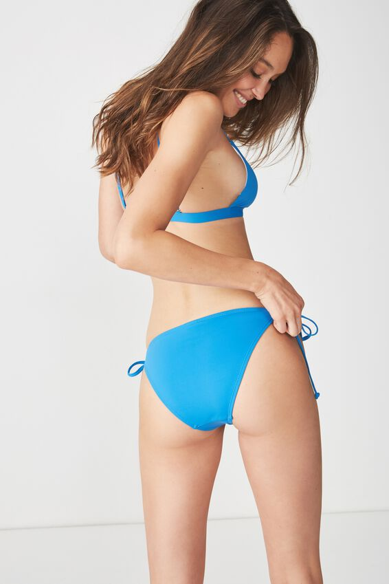 Tie Side Seamless Cheeky Bikini Bottom, SWEDISH BLUE