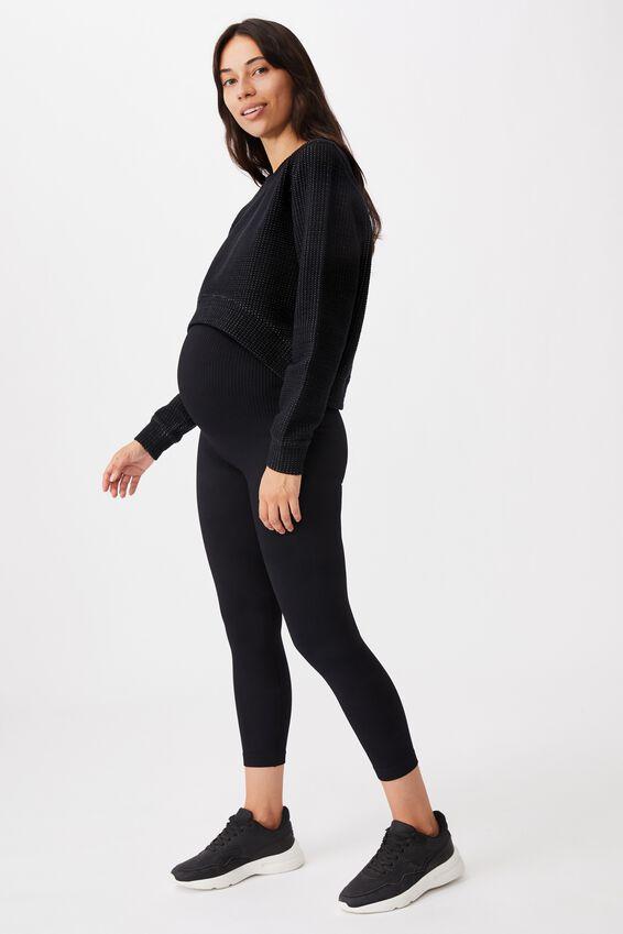 Maternity Lifestyle Seamless Rib 7/8 Tight, BLACK