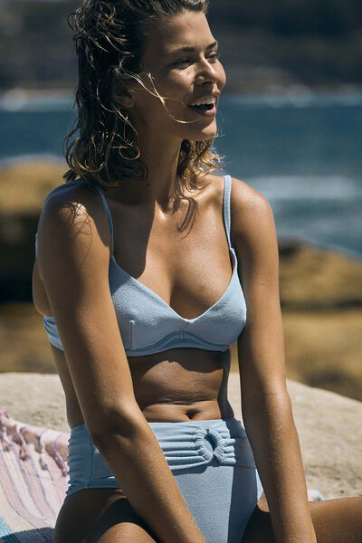 Underwire Balconette Bra Bikini Top Terry, CORNFLOWER TERRY