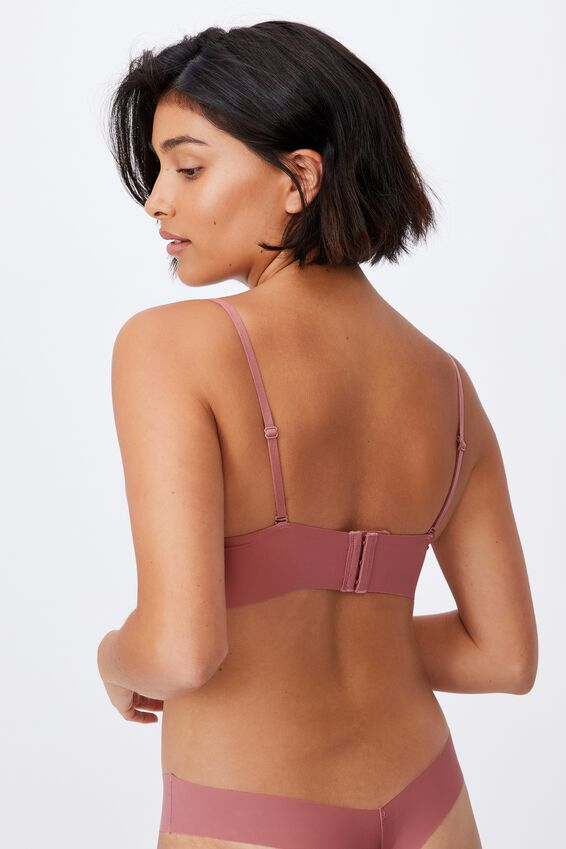 Invisible V Bralette With Cups, WOOD ROSE