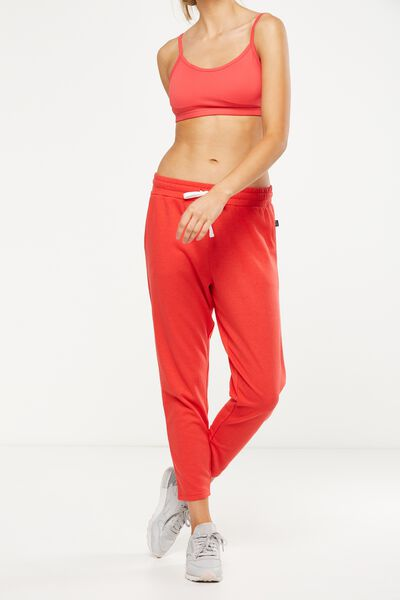 Tapered Leg 7/8 Trackpant, POPPY RED