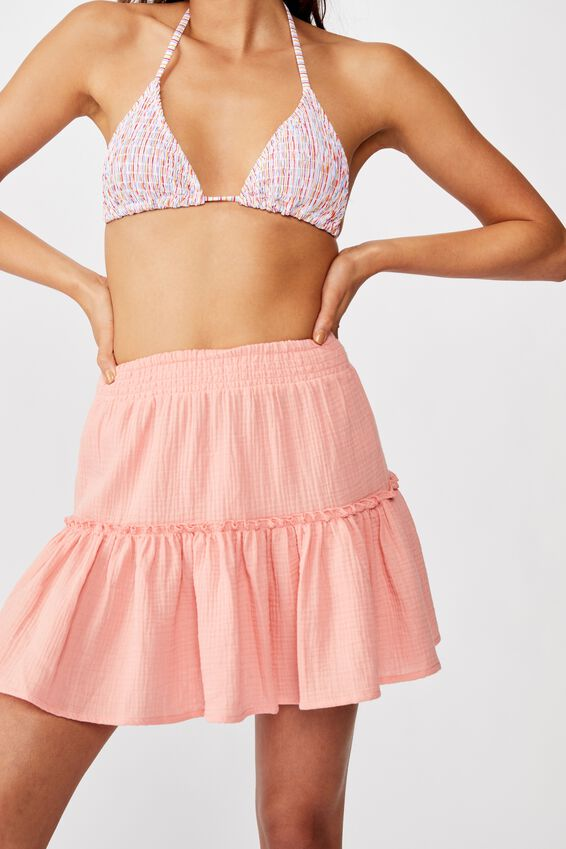 Ruffle Tiered Beach Skirt, SHELL CORAL