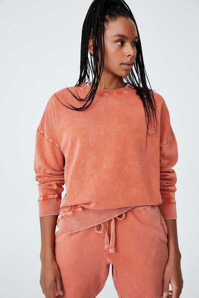 Lifestyle Long Sleeve Crew Top, CLEMENTINE WASHED