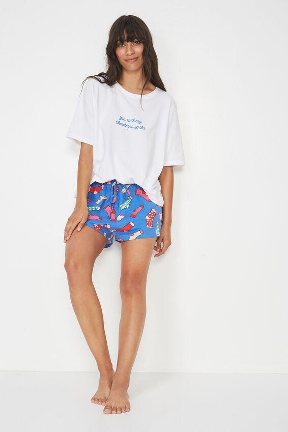 Jersey Short, BLUE/SILLY SOCKS