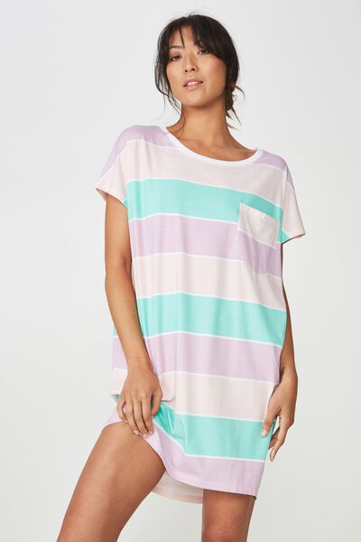 Cap Sleeve Nightie, HORIZONTAL STRIPE/SPEARMINT