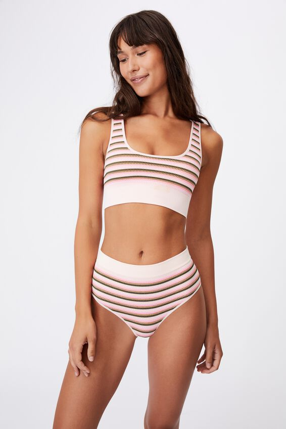 Seamfree Reversible Crop With Cups, VINTAGE STRIPE