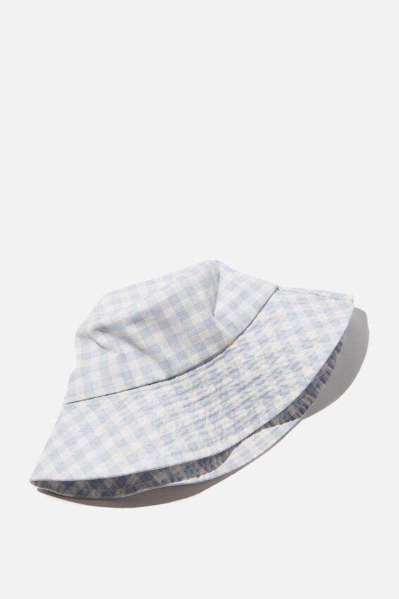Bonnie Bucket Hat, PALE BLUE GINGHAM