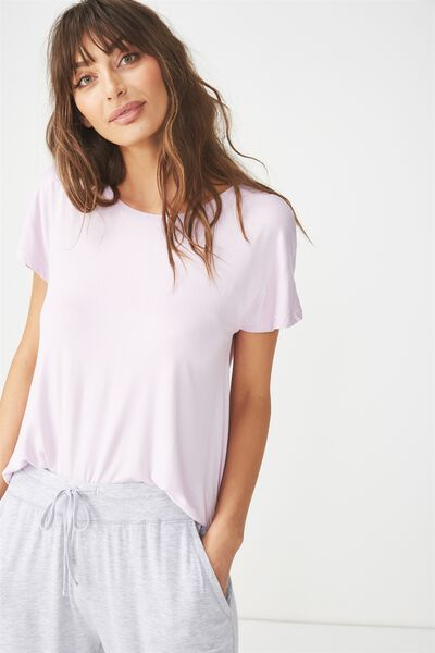 Sleep Recovery Cap Sleeve T Shirt, PASTEL LILAC