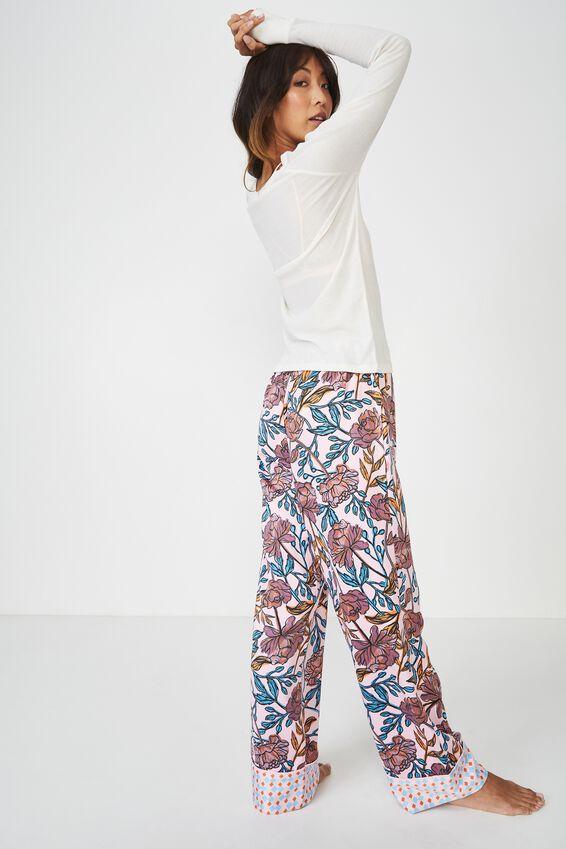 Rib Henley Long Sleeve Top, MARSHMALLOW