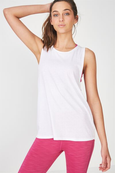 Double Twist Back Tank Top, WHITE