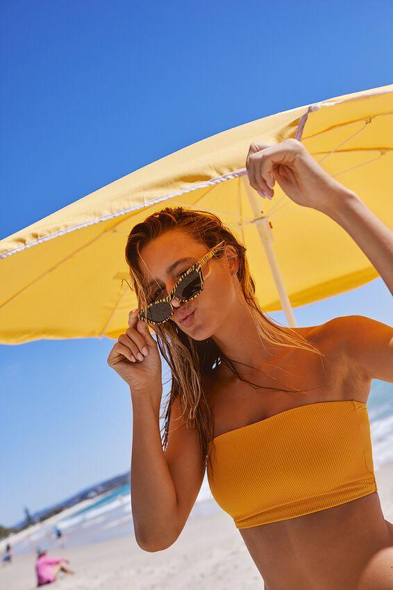 Cora Rib Longline Bandeau Bikini Top, MARIGOLD