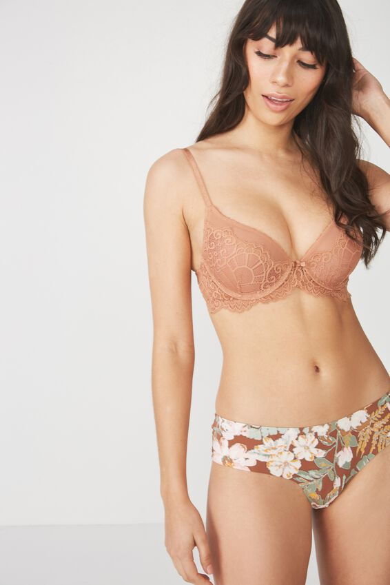 Candice Lace And Mesh Booster With Rem Up 2 Bra, MAPLE