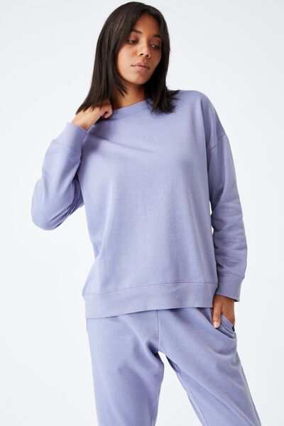 Lifestyle Long Sleeve Crew Top, PERIWINKLE