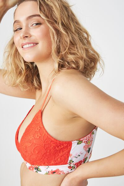 Love Story Bralette, ORANGE RED BEAUTIFUL BLOOM