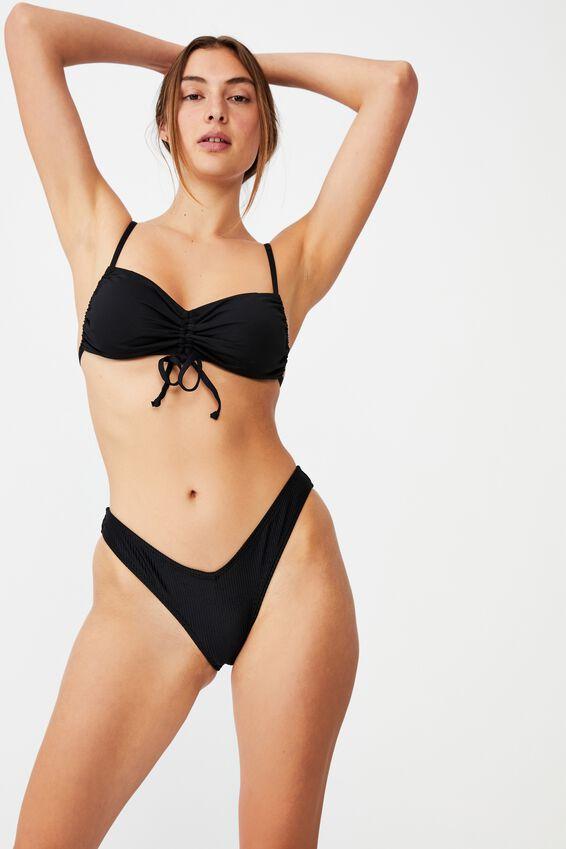 High Side Brazilian Bikini Bottom, BLACK RIB 20