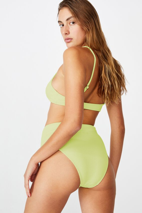 Highwaisted Banded Cheeky Bikini Bottom, LEMONADE TEXTURE