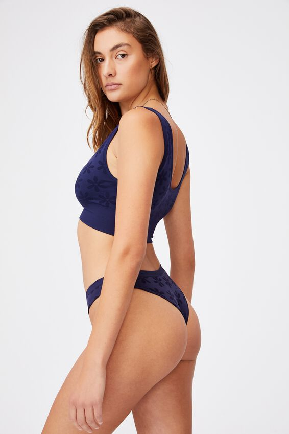 Seamfree Rib Brasiliano Brief, NAVY DAISY JACQUARD
