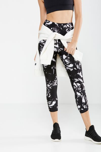 Loop Back Crop Tight, STROKEY FLORAL MONO