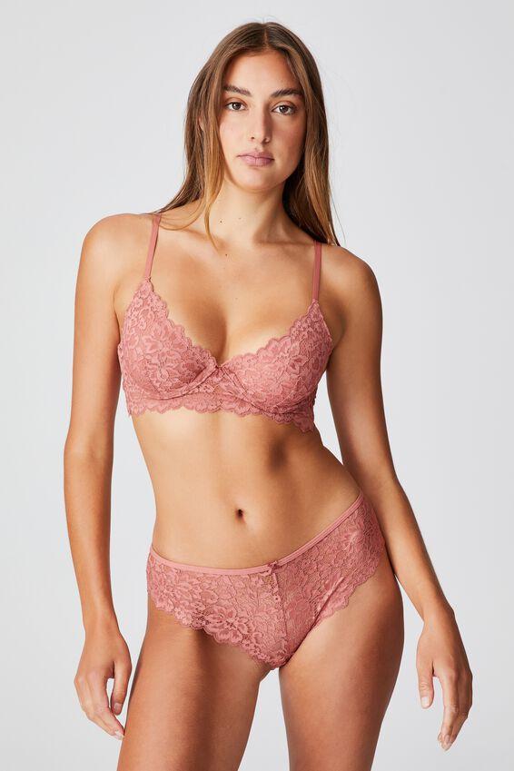 Ivy Lace Bikini Brief, WOOD ROSE