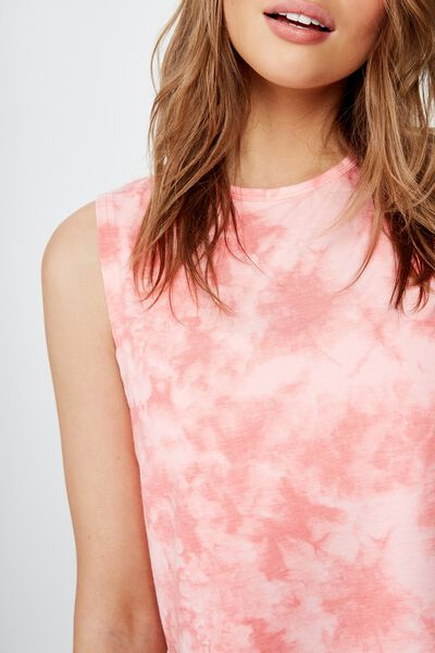Cropped Active Muscle Tank, SUNKISSED CORAL TIE DYE