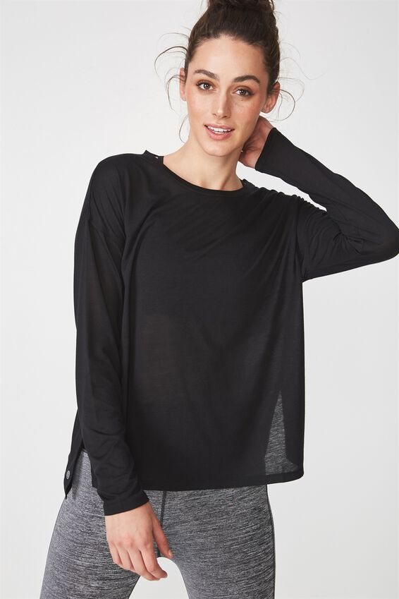 Long Sleeve Split Hem, BLACK