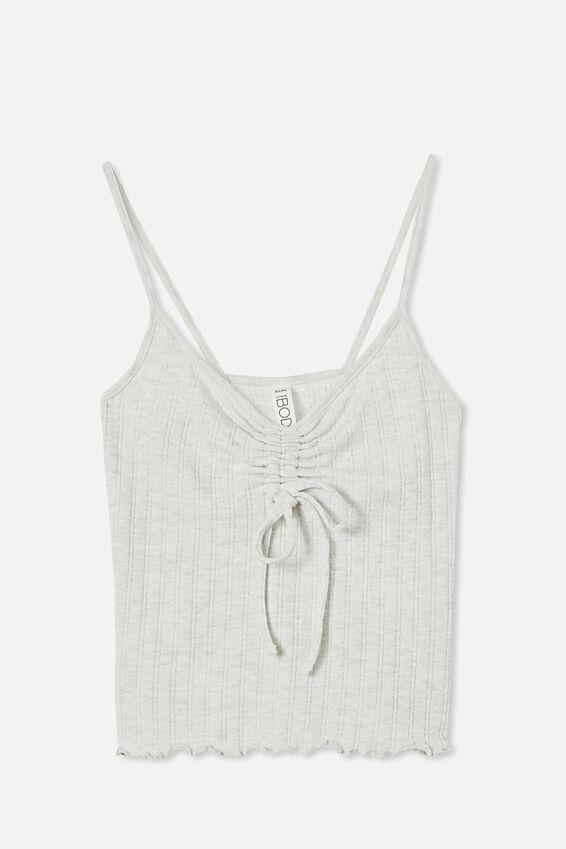 Knit Pointelle Sleep Tank, SOFT GREY MARLE